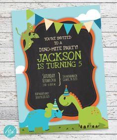 Dinosaur Birthday Invitation, Dinosaur Party, Jurassic Birthday, Boy Birthday DIGITAL PRINTABLE FILE by FlairandPaper on Etsy