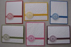 wonderful card set ~ use the same base cardstock trimmed with border punch to mimic ribbon