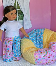 2 pc set for American Girl Doll ..  X-Large Beanbag Chair with Matching PJ Lounge Pants .. Rainbows & Flowers Flannel and Minky Fabric