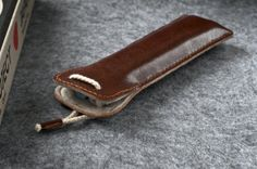 Leather Pen Case Chestnut Leather Handstitched by WunderLeather