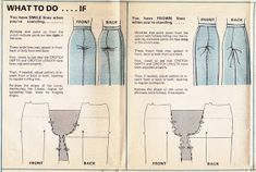 Sewing Pants Is Easy - What to do it you have smile or frown lines on your pants when standing Sewing Pants, Sewing Clothes, Diy Clothes, Techniques Couture, Sewing Techniques, Clothing Patterns, Sewing Patterns, Sewing Alterations, Modelista