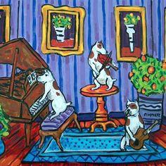 Pit Bull Terrier POTTY bathroom dog art PET  13x19 GLOSSY PRINT