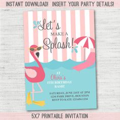 Flamingo Pool Party Invitation Instant Download by OllieAndLulu