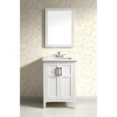 "24 Bathroom Vanity With Backsplash ronbow 080824-3 shaker 24"" vanity cabinet with 2 wood doors and"