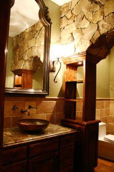 "The wow half bath!, This is the half bath to the Old World Kitchen. Native Trails copper vessel sink ""Maestro"", Uttermost Mirror, Unttermost..."