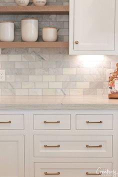 kitchen backsplash Tour this modern European meets farmhouse dream kitchen built by Silverhawk Enterprises in Salt Lake City Utah. Kitchen Redo, Home Decor Kitchen, Kitchen And Bath, New Kitchen, Kitchen Ideas, Awesome Kitchen, Kitchen Designs, Small Kitchen Backsplash, 10x10 Kitchen