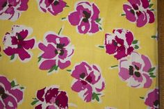 Floral Poplin 97% Cotton 3% Lycra Spandex Yellow Pink Stretch Woven Fabric BTY
