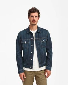 The Denim Jacket by Everlane in Vintage Dark Blue Wash - An iconic layer—to live in year round. Milled-in-Japan oz denim, and garment-wash each jacket for a one-of-a-kind look. Blue Denim Jacket Outfit, Dark Blue Denim Jacket, Denim Jacket Men, Men's Denim, Denim Style, Denim Jackets, Denim Shirts, Women's Jackets, Denim Fashion