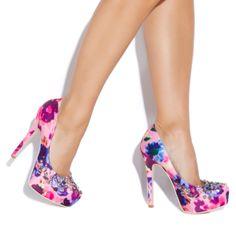 Dare to wear those eclectic satin floral-print pumps - Diandra @ShoeDazzle #pumps