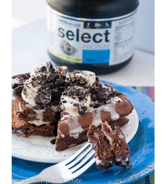 HEALTHY COOKIES & CREAM WAFFLES Per 2 waffles: 336 calories (12g F, 27g C, 42g P) INGREDIENTS: 1 scoop PEScience Cookies N Cream Select Protein powder, 2 tbsp. coconut flour, 2 tbsp. unsweetened cocoa powdered, 1 egg,  1/2 c plus 1 tbsp. almond milk (milk of choice or water), 1 tsp. baking powder CLICK PHOTO FOR FULL RECIPE
