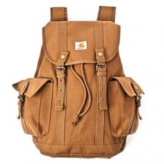 Carharrt - Tramp Backpack:  This has a thrift shop/vintage military feel to it, and also a fairly amusing style name. However, would have liked to have seen a tiny bit of leather on it for the price.