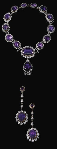 Amethyst and diamond demi-parure, mid-19th century. Comprising: a necklace designed as a graduated series of oval amethysts each set within a frame of cushion-shaped and circular-cut diamonds, suspending a detachable amethyst and diamond pendant, and a pair of earrings similarly set, post fittings, originally part of the necklace, later set as earrings.: