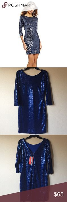 "NWT Gianni Bini Gianna Dress Never worn! So hot! A fans favorite dress from GB zips up the back. 3/4 sleeve. Royal blue color. V neck in the back. Pit to pit measures 18"" across, length from top of shoulder to bottom hem is 34"" Gianni Bini Dresses Prom"
