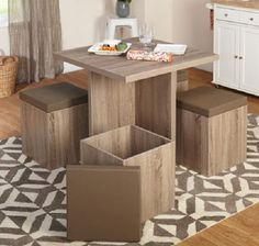 Dining Set 5 pc Furniture Table Reclaimed Wood Ottoman Seating Seats Storage New #Contemporary