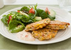 Corn Fritters with Feta & Bacon recipe - Easy Countdown Recipes Bacon Recipes Quick, Corn Fritter Recipes, Healthy Recipes, Veg Recipes, Healthy Food, Corn Fritters, Sweet Chilli Sauce, Bacon Salad