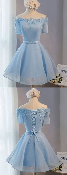 Blue organza homecoming dress, Short prom dress with short sleeves, Off shoulder lace-up party dress 0054 by RosyProm, $108.99 USD