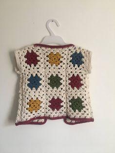Children's crochet waistcoat 3 years cotton yarn Measurements - Pit to pit all around Neckline to hem T-shirt Au Crochet, Gilet Crochet, Crochet Toddler, Crochet Dolls, Crochet Clothes, Easy Crochet, Free Crochet, Crochet Waistcoat, Crochet Baby Jacket