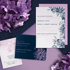 Savannah - This two sided invitation features admiral and freesia imprint on a bright white card and swirled flowers on the freesia colored backside.