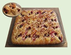 Glazed Sour Cherry Yeast Cake - Good Food And Treasured Memories Beautiful Fruits, Sour Cherry, Creamed Eggs, Sliced Almonds, Sweet Tarts, Dry Yeast, Brunch Ideas, Coffee Cake, No Bake Cake
