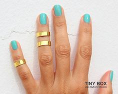 Gold Rings  Gold Bands Above The Knuckle Ring  Gold by TinyBox12, $14.99