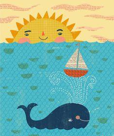 Book of Blessings/ Sarah Walsh Whale Drawing, Sun Drawing, Drawing For Kids, Sun Paper, Paper Art, Character Illustration, Illustration Art, Whale Art, Animal Sketches