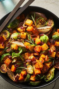 This quick and easy 55-minute butternut squash salad recipe incorporates shallots, brussels sprouts, sherry vinegar, tahini, maple syrup, rosemary, cranberries and pecans or walnuts to create the ultimate fall recipe. Whether you're looking to eat this squash recipe as a quick and easy weeknight dinner, side dish, appetizer, snack or light lunch, it's a great choice for a fall recipe. #fallrecipes #squashrecipes #saladrecipes #butternutsquash #butternutsquashrecipes Pea Recipes, Vegan Recipes Easy, Fall Recipes, Cooking Recipes, Cooking Tips, Squash Salad, Fall Salad, Buffet Tables, Tahini Dressing