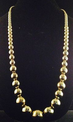 """1960s 30"""" Graduated Size Gold Tone Metal Beaded Necklace on Chain 862"""