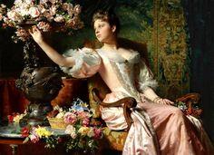 Lady in a Lilac Dress with Flowers - Władysław Czachórski