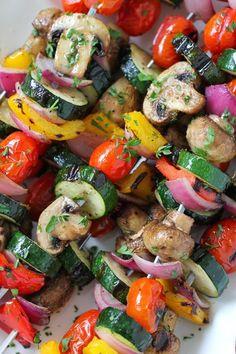 Grilled Vegetable and Mushroom Kebabs - Olga's Flavor Factory Grilled Vegetable and Mushroom Kebabs Kabob Recipes, Grilling Recipes, Cooking Recipes, Barbecue Recipes, Barbecue Sauce, Kebabs On The Grill, Vegetarian Recipes, Healthy Recipes, Vegetarian Grilling