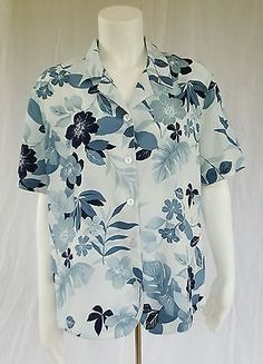 Alfred Dunner Size 14 Blue Hawiian Floral Short Sleeve Button Blouse Polyester