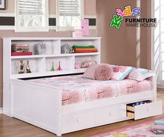 Buy the Allen House Full Size Bookcase Captains Daybed in White Finish at Kids Furniture Warehouse; The Allen House Captains Bed features solid wood construction and premium craftsmanship found in only the best furniture. Deck Furniture, Retro Furniture, Furniture Layout, Cheap Furniture, Luxury Furniture, Discount Furniture, Furniture Outlet, Furniture Stores, Furniture Websites