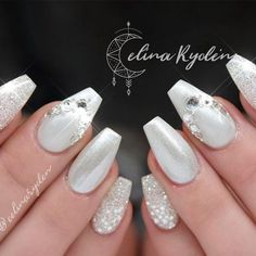 Discover trendy and cute white coffin nails designs with accent glitter rhinestones. Find an idea for your long short nails. Discover trendy and cute white coffin nails designs with accent glitter rhinestones. Find an idea for your long short nails. White Coffin Nails, White Acrylic Nails, Coffin Shape Nails, Coffin Nails Long, White Nails, Acrylic Nails Natural, Ballerina Nails Shape, Nailart, Acrylic Nail Shapes
