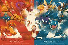 Good Lookin': Stylized Pokemon Red And Blue Posters Pokemon Poster, Video Game Posters, Video Game Art, Video Games, Film Posters, Pokemon Images, Pokemon Pictures, Pokemon Rouge, Photo Pokémon