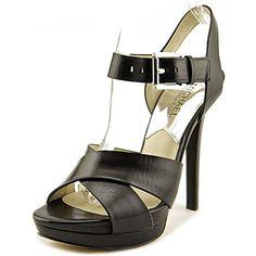 969845124878 Michael Michael Kors Oksana Sandal Women US Black Platform Heel. Platform  height  -Heel height  Leather lining.