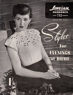vintage knitting pattern book - lincoln hand knits - STYLES FOR EVENINGS AT HOME, lol.....