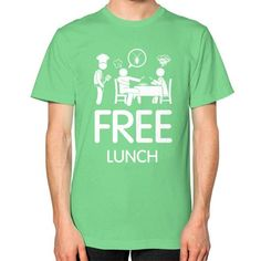 Free Lunch Men's T-shirt, American Apparel T-shirt, funny t-shirt, food tees, cook t shirt, cockroach tee (White Icon)
