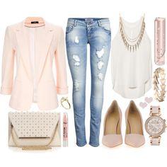 Pale pink blazer, white flowy tank with embellished neckline, light wash denim jeans, blush bag and pumps