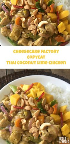 Cheesecake Factory Copycat Thai Coconut-Lime Chicken--if you love curry, sweet and savory dishes, and a little spice...this dish is for you! Not only is it delicious, but it's easy to make and you can feed a family of 7 for the price of ONE meal at Cheesecake Factory ;) Recipe at www.dealstomealsblog.com