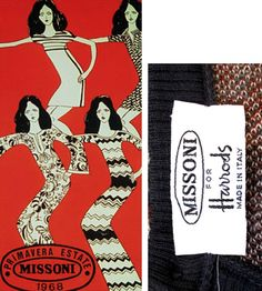 vintage Missoni labels and ads