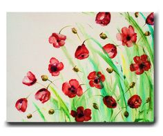 Red Poppies Painting Abstract Flower Painting Abstract Red Flowers Painting Floral Painting Original Art Painting on Canvas by Heather Day via Etsy