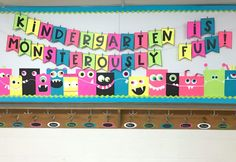 MONSTERously Fun Bulletin Board - Differentiated Kindergarten Use it for Back To School or Halloween, this bright DIY bulletin board is a Monsterously Fun way to greet your students and make a GREAT impression. Monster Bulletin Boards, Monster Theme Classroom, Welcome Bulletin Boards, October Bulletin Boards, Kindergarten Bulletin Boards, Welcome To Kindergarten, Halloween Bulletin Boards, Differentiated Kindergarten, Back To School Bulletin Boards