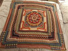Ravelry: The Amanzi Block/Throw pattern by Jen Tyler Crochet Mandala Pattern, Crochet Square Patterns, Crochet Blocks, Freeform Crochet, Crochet Squares, Crochet Blanket Patterns, Crochet Designs, Crochet Stitches, Granny Squares