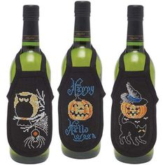Happy Halloween Bottle Aprons Counted Cross-Stitch Kit - Herrschners