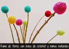 Ramo de Flores con Bolas de Crochet - Patrones Crochet