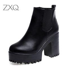 Bota ş mujerファッション女性ブーツスクエアヒールプラットフォームzapatos mujer puレザー腿の高いポンプブーツオートバイ靴熱い販売