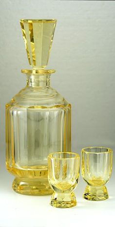 water, earth Moser Eldor Cut Crystal Deco Decanter & Pair of Matching Glasses Carafe, Vintage Dishes, Antique Dishes, Antique Glassware, Mellow Yellow, Color Yellow, Art Deco Furniture, Glass Company, Carnival Glass
