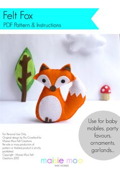Felt Fox PDF Pattern Use for baby mobile por MaisieMooNZ en Etsy