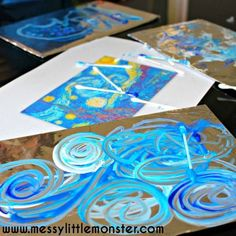 Van Gogh 'Starry Night' inspired painting on foil art activity ideas for kids.