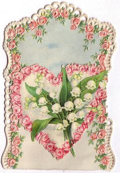 victorian lithograph heart flowers