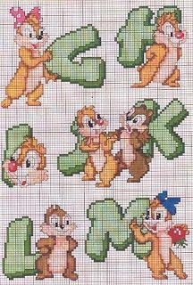Baby alphabet Chip and Dale Cross Stitch Letters, Cross Stitch Boards, Cross Stitch Heart, Cross Stitching, Cross Stitch Embroidery, Cross Stitch Designs, Stitch Patterns, Hama Disney, Stitch Cartoon